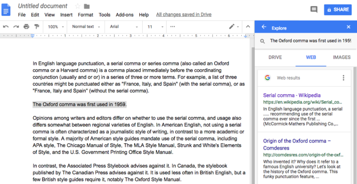 search the internet without leaving Google Docs