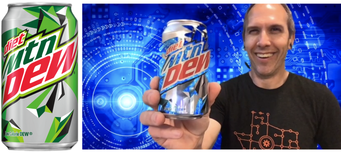 The green parts of a Mountain Dew can looking blue against Ben
