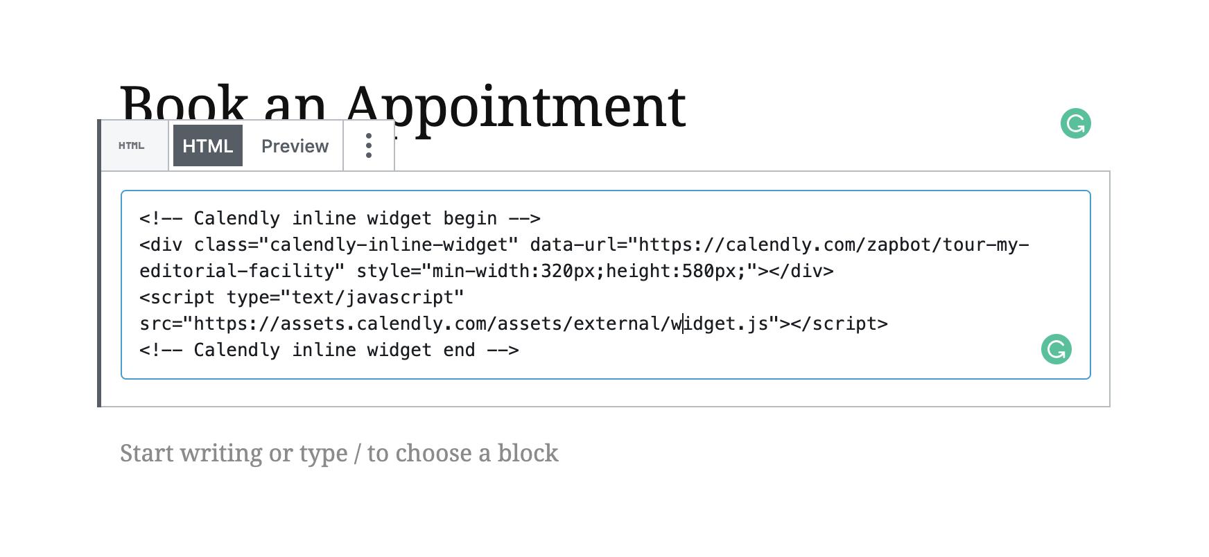 Calendly embed code in WordPress