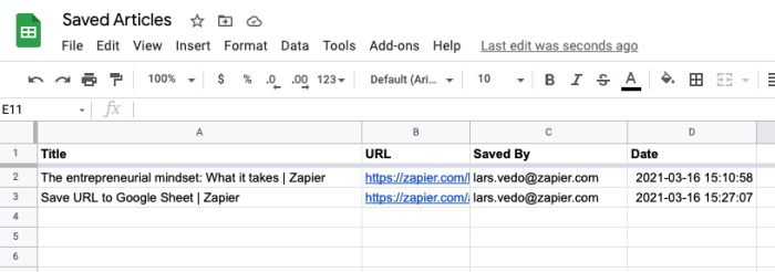 A Google Sheet with columns for title, URL, saved by, and date.