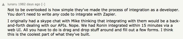A develoer from Ronin commenting on the Zapier Develoer Platform news