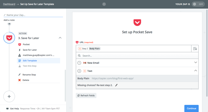 Add extracted link to Pocket with Zapier