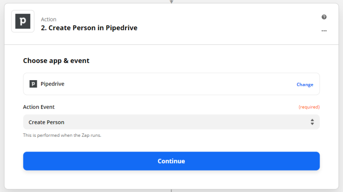 Zap set-up: Create person in Pipedrive