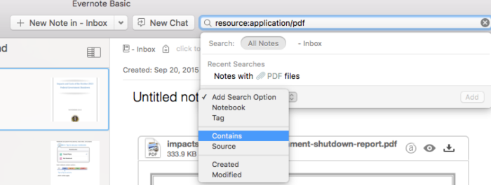 Add search options in Evernote