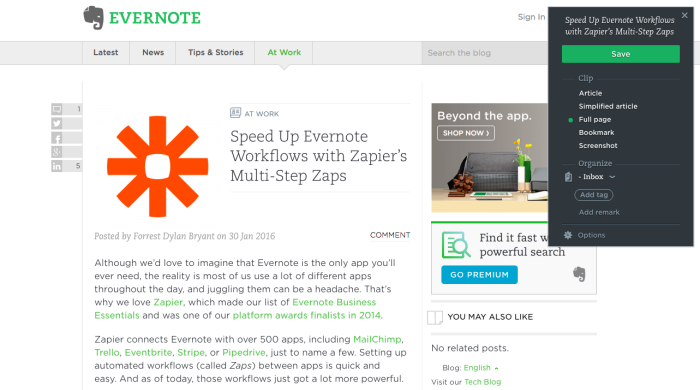 Evernote Web Clipper: Full Page