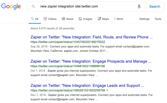 Zapier Twitter posts in Google search results