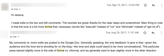 Two emails written to Jessica, the author, about how her writing is too formal
