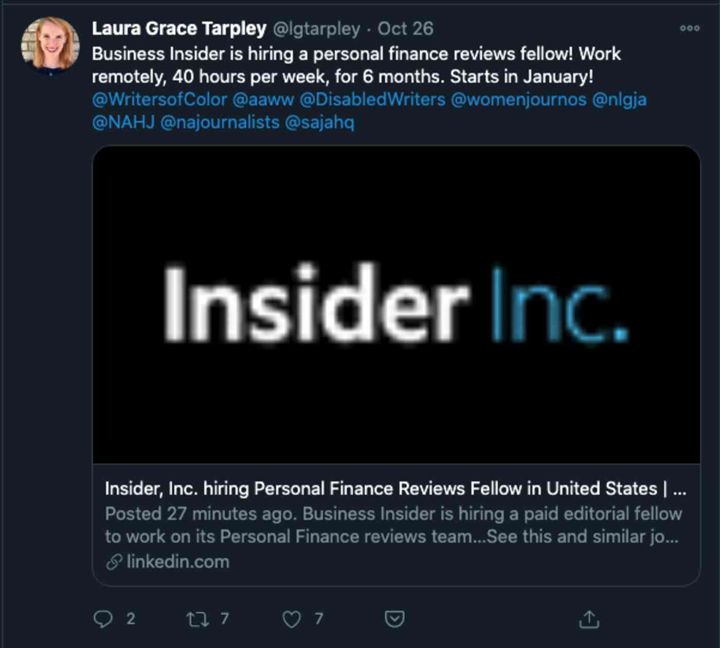 A screenshot of the original tweet in the Twitter app.