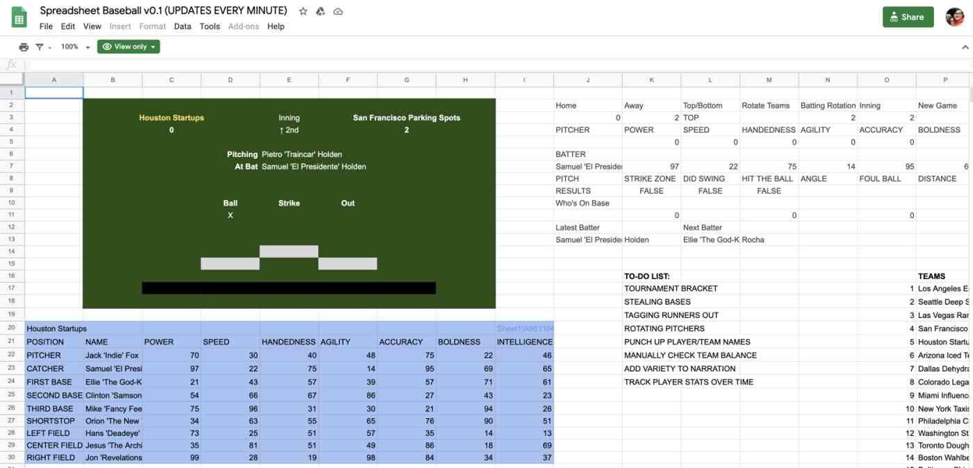 A screenshot of the baseball spreadsheet that Tyler made