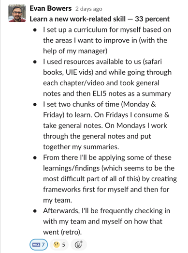 A Slack screenshot of Evan's plan to learn a new skill, including working with his manager to identify areas for improvement, finding resources, setting aside time, applying findings, and checking in with his team and himself.