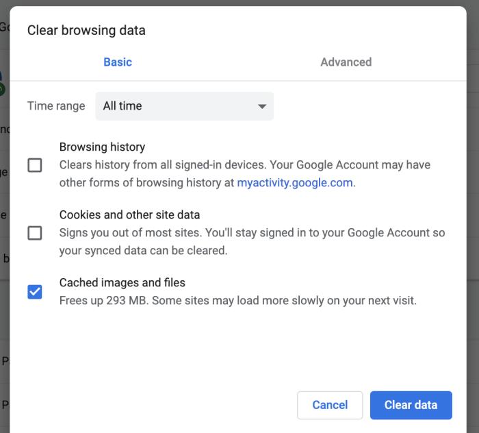 Una captura de pantalla para borrar el caché en Chrome