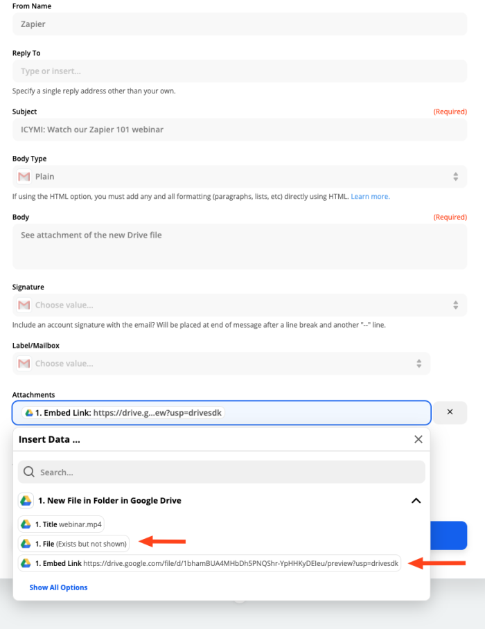 A screenshot of the Zap Editor customizing the Gmail step of a Zap. The Google Drive Embed Link field is selected as the email attachment which will send a Drive link to recipients.