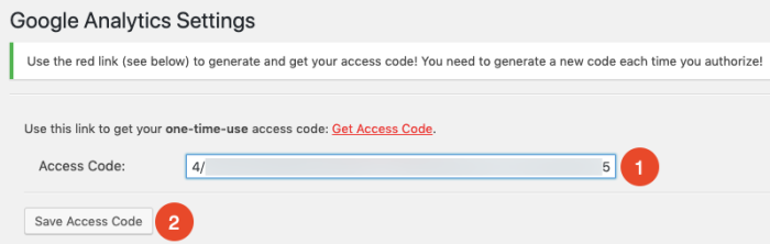 enter Google Analytics access code