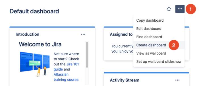 create new Jira dashboard