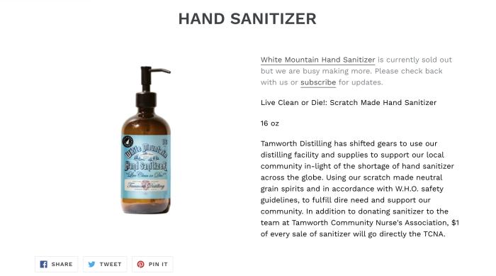 Screenshot of Tamworth Distillery hand sanitizer page