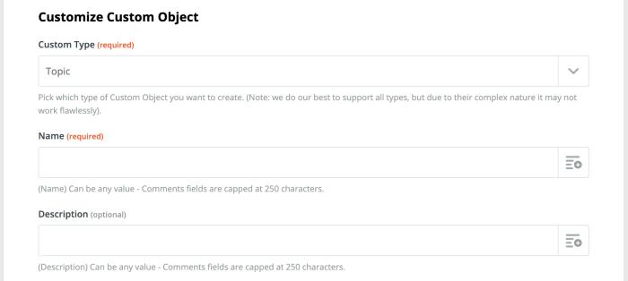 Custom Object fields