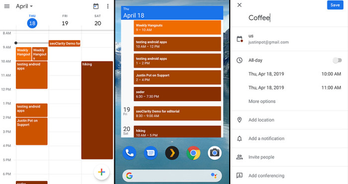 Google Calendar for Android screenshots