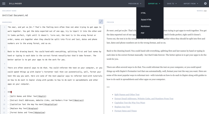 Export Markdown to the format you want with Dillinger