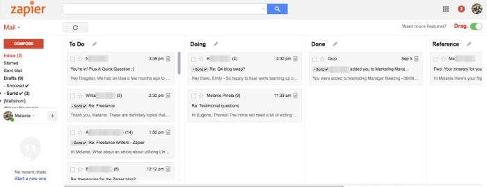 Drag Gmail extension screenshot