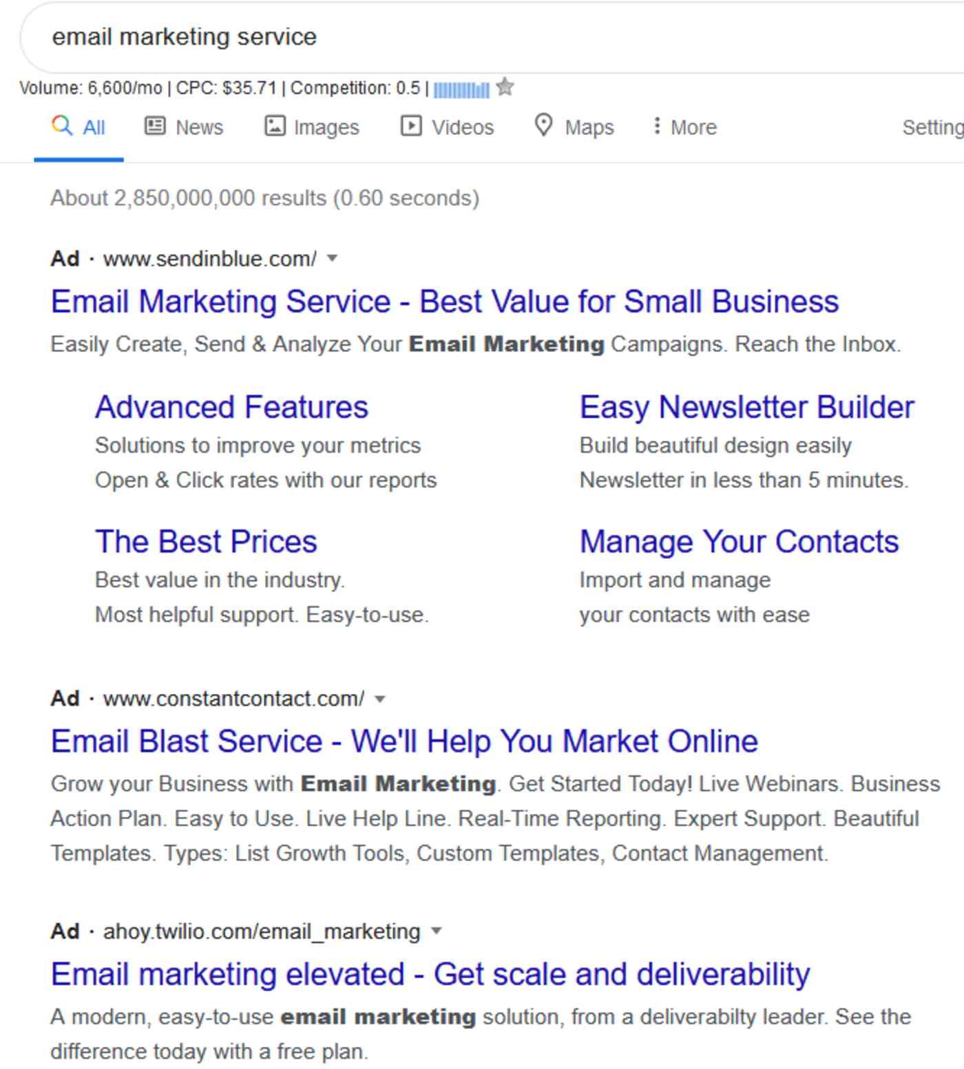 A search engine results page