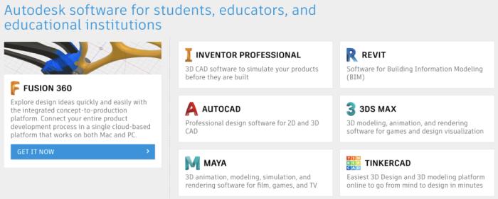 Autodesk student discount landing page