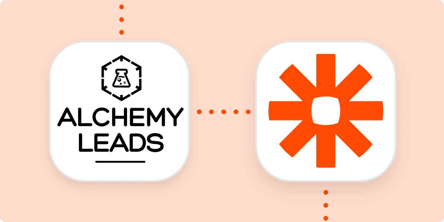 A light orange background behind two squares with rounded corners. Inside the squares are the logos for AlchemyLeads and Zapier. The squares re connected with dotted orange lines.
