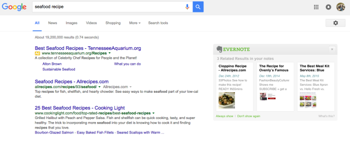 Evernote web search