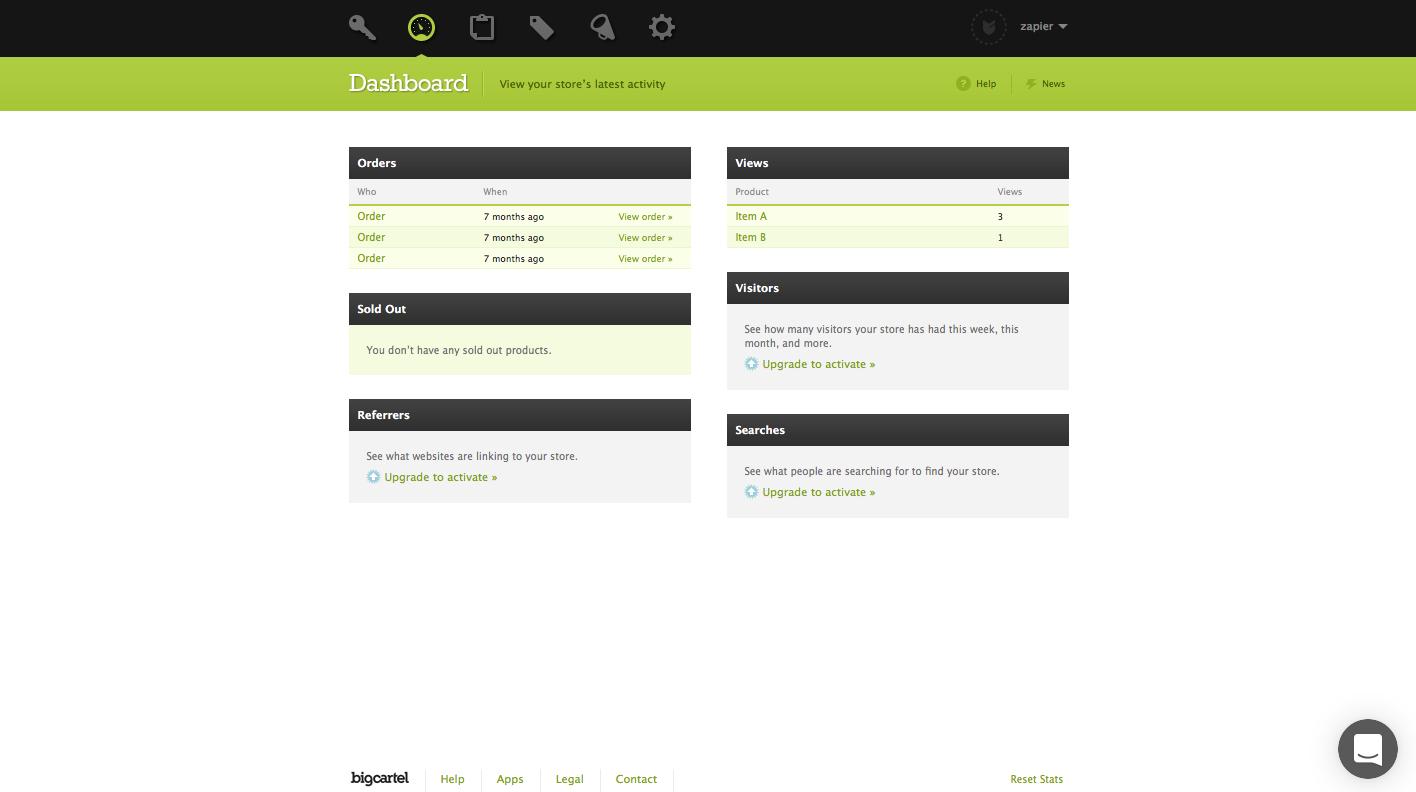 Big Cartel screenshot