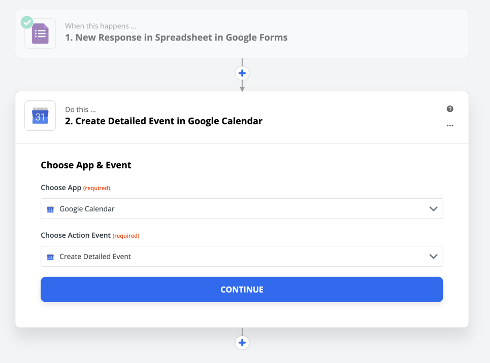 Create a detailed calendar event in Google Calendar using Zapier