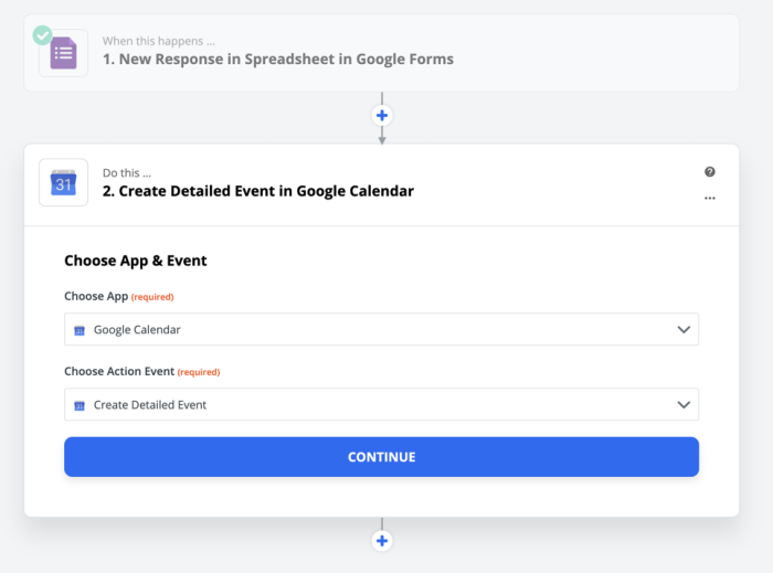 Create a detailed calendar event in Google Calendar using Zapier