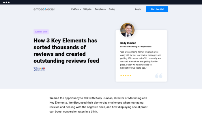 A customer success story on EmbedSocial's site