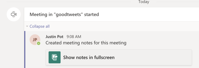 Meeting notes link in the Teams channel