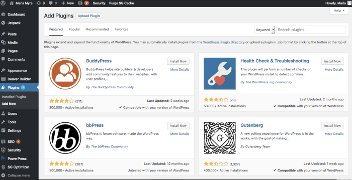 Add more functionality to your WordPress site with plugins.