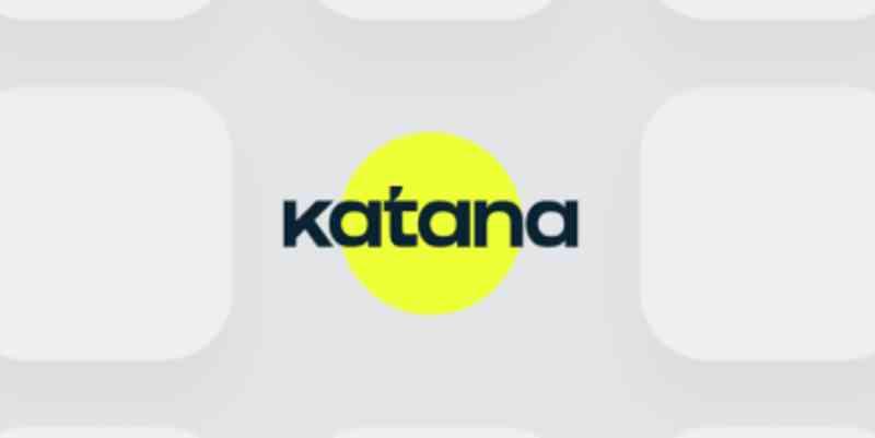 Katana app logo on a gray background.