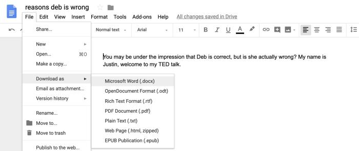 Saving an important Google document to my Dropbox