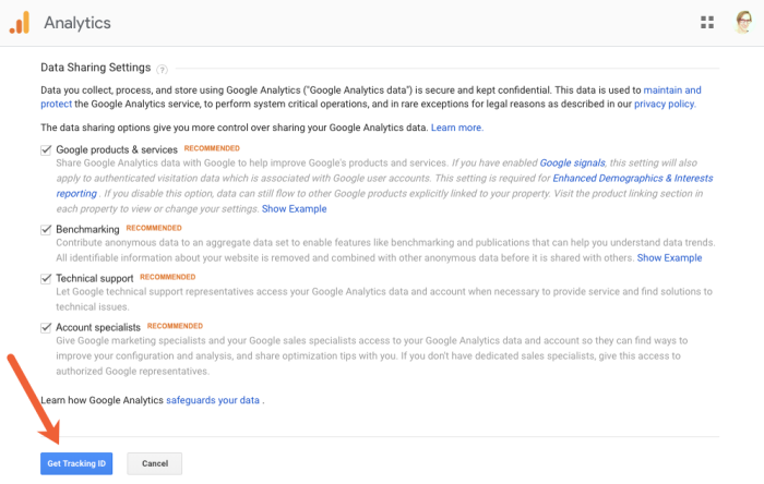 get a Google Analytics tracking ID