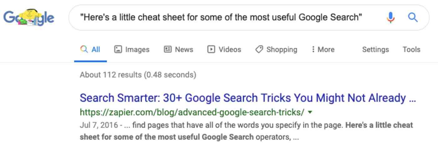 Google exact match search operator
