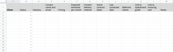 A client database template, with each client as their own row