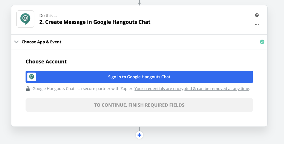 Logging into Hangouts Chat in Zapier