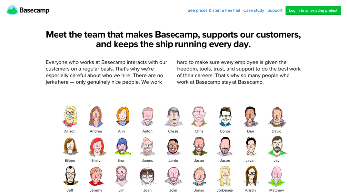 Basecamp about page