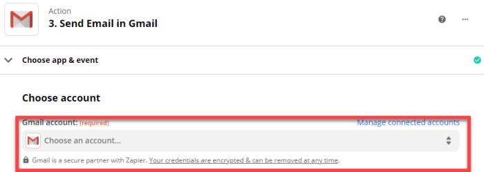 Gmail account: Choose an account