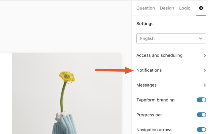 Click notifications in Typeform