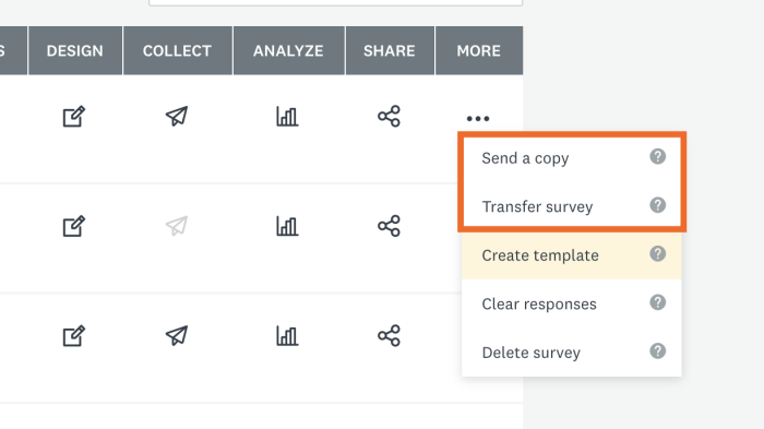 Send a copy and Transfer Survey in SurveyMonkey