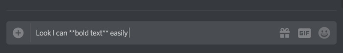 Discord screenshot showing text between two asterisks