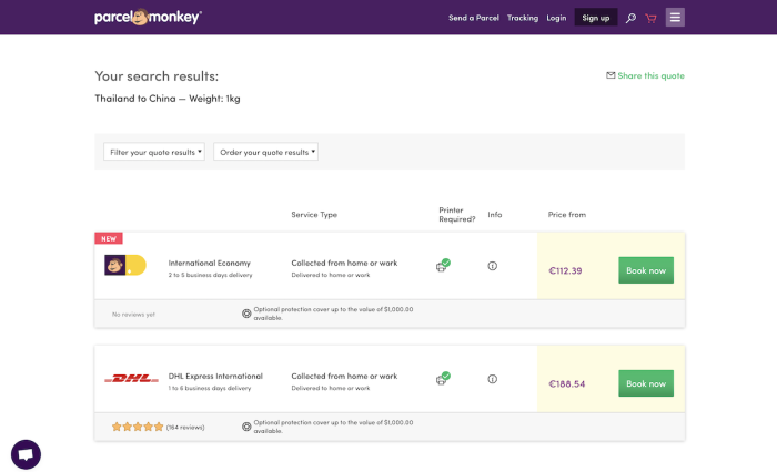Sitio de comparación de tarifas de envío de Parcel Monkey