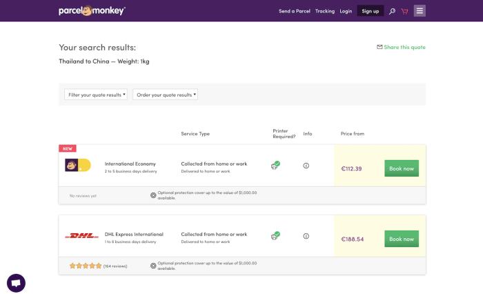 Parcel Monkey shipping rate comparison site