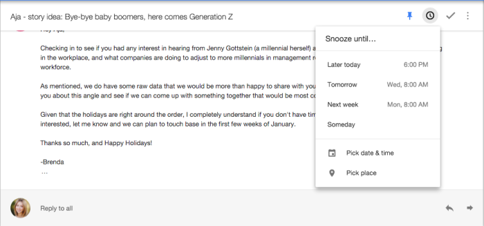 snooze email in Google Inbox