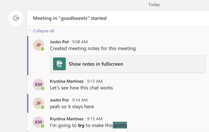 Meeting chat record in Microsoft Teams