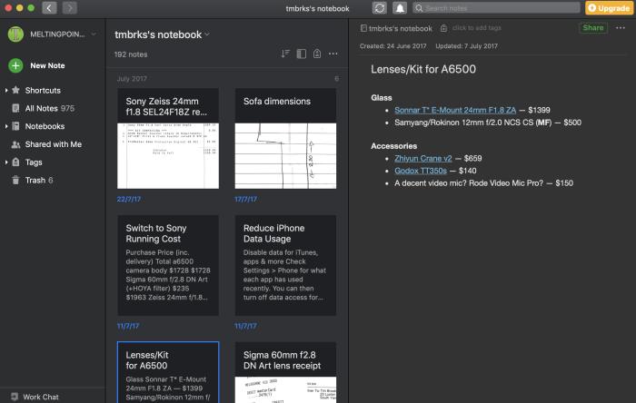 Evernote on Mac screenshot