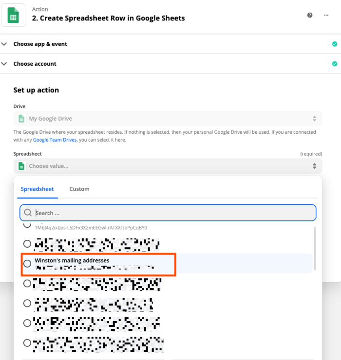 Selecting your spreadsheet in the Zapier editor.